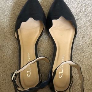 cute rounded point flats with ankle strap!